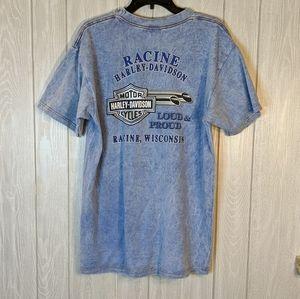 EUC Harley Davidson blue wash t-shirt Wisconsin L